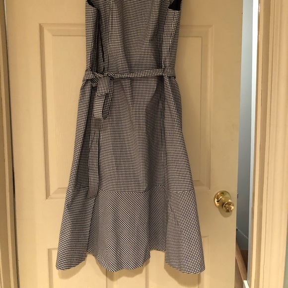 Talbots Dresses & Skirts - Black & white check peplum dress with belt.